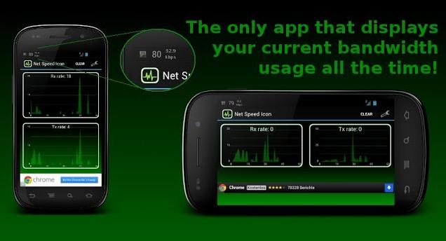 مشاهده سرعت اینترنت در notification bar برای آندروید Net Speed Icon 1.7